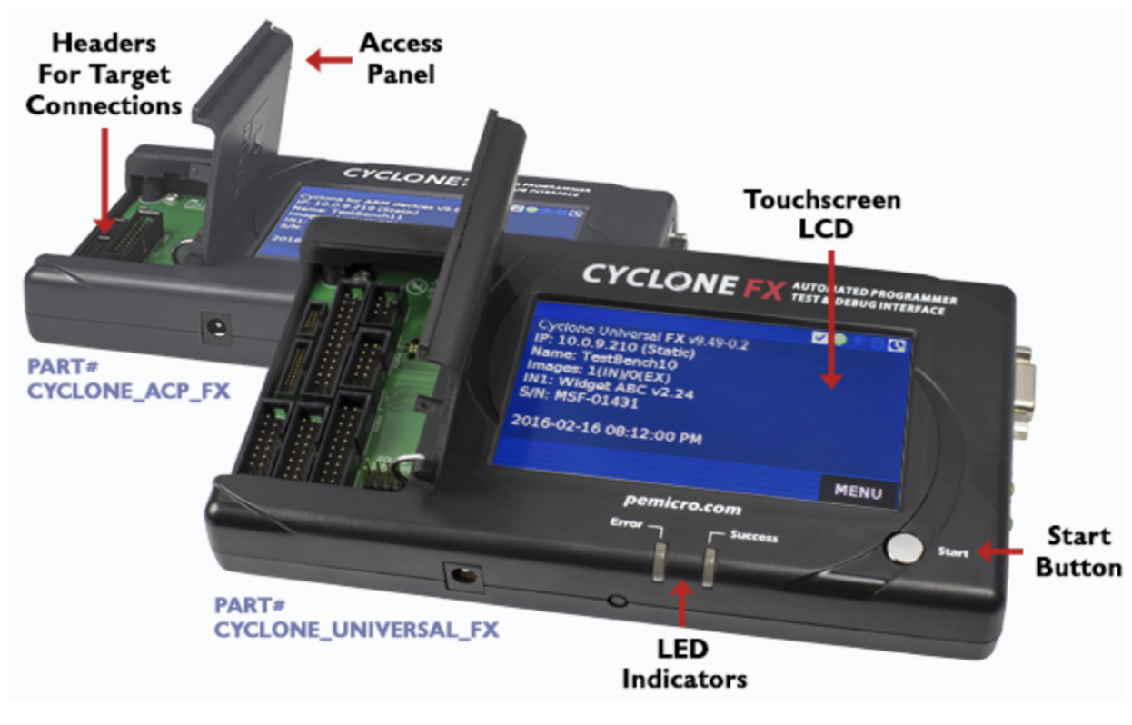 PEmicro Cyclone FX Touchscreen LCD